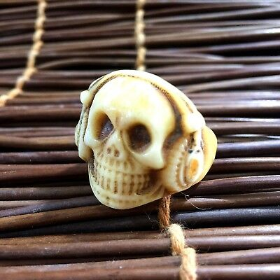 Collectible Ancient Chinese old b0ne handwork darkness demon skull Male ring