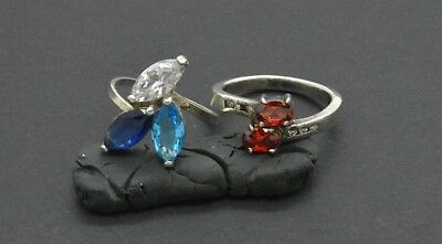 Antiquarian Silver Rings with gemstones. 20 Century