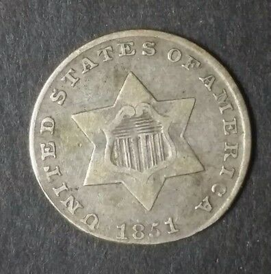 1851 Silver 3 Cent Piece 3c | US Coin
