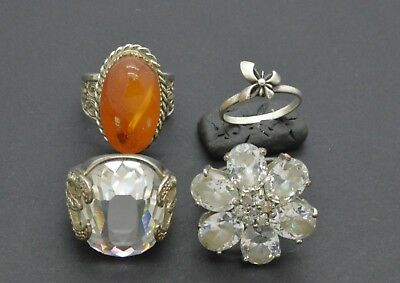 Antiquarian Rings with amber & rock-crystal Gemstones. One of them Silver