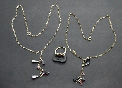 Antiquarian Silver necklaces & Ring with Garnet Gemstones 20 Century