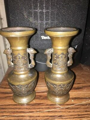 """Antique Pair of Chinese/Oriental/Asian Dragon handle Bronze vases 5.5"""" Tall"""