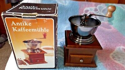 LARGE Vintage Manual Coffee Grinder  Wooden Coffee Mill With Hand Crank VGC 22CM