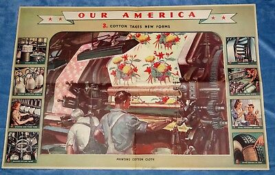 "Vintage Coca Cola "" Our America: Cotton "" Educational Poster  # 3 ~ 1942"