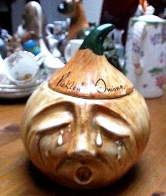 vintage Toni Raymond Pickled Onion Pot & Lid Retro Kitsch 1970's Torquay