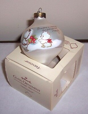 Halllmark Christmas Tree Ornament 1983 - Friendship - White Glass Ball - Bear