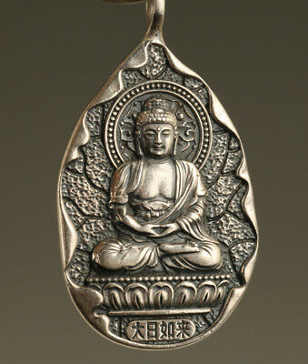 37g Fine 999 silver Chinese Old Hand Carved buddha Statue Pendant netsuke