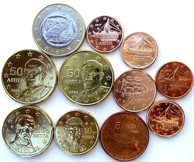Greece Coins, Lot Of 11, Euro Cents (Greek Lepta) & 1 Euro 2010
