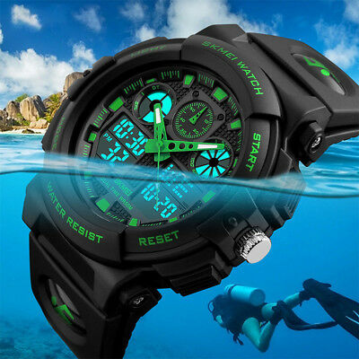 SKMEI Men's Waterproof Sport Army Alarm Date Analog Digital Black Wrist Watch
