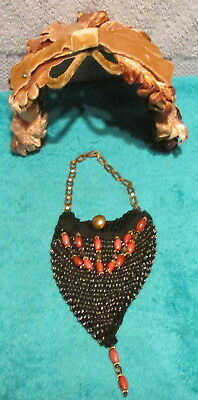 "Vintage Woman's Tan Felty Hat~Big Bow~Handmade 4 1/4"" Beaded Tiny Coin Bag~LOOK"