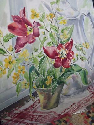 1954 Mid Century Watercolor Painting Red Tulips Lucille B Carr Oak Park IL