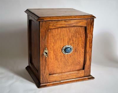 LOVELY ARTS & CRAFTS OAK Blue Cabochon SMOKERS CABINET ~ Liberty & Co circa 1900