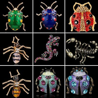 Fashion Crystal Rhinestone Animasl Insect Brooch Pin Women Costume Jewelry Gift