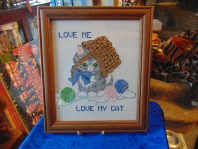 Tapestry Picture of a Cat Lovely Says 'Love Me Love My Cat' He's Been At The Woo