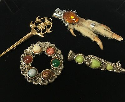 Small Lot Of Celtic Grouse Foot Brooch , Miracle Brooch, Scarf Clip Ect
