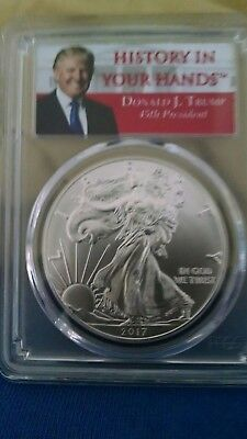 2017 1oz Silver Eagle PCGS MS69 First Strike History In Your Hands Trump Label