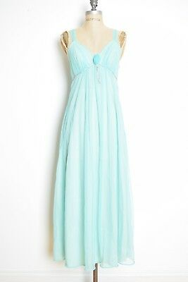 vintage 60s nightgown turquoise chiffon empire nightie lingerie dress S clothing