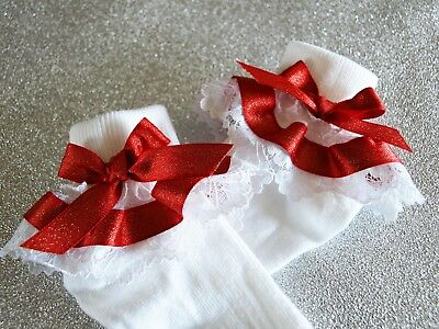 Baby Girls White Frilly Red Glitter Satin Christmas Party Socks Various Sizes