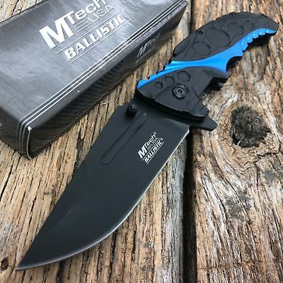 "8.25"" Mtech Usa Blue Spring Assisted Tactical Folding Pocket Knife New -T"