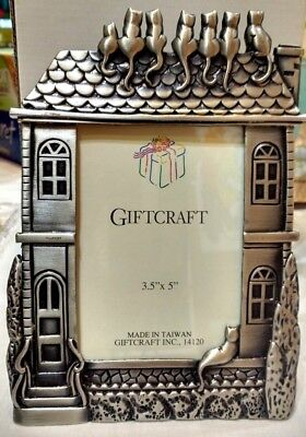 "Vintage Giftcraft Pewter Cat's on a Roof 3.5 x 5"" Photo Frame Nib"