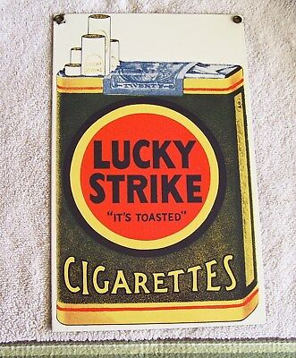 Porcelain EnameledTabacco Sign ''lucky Strike'' Ande Rooney 71/4''x 115/8''repo