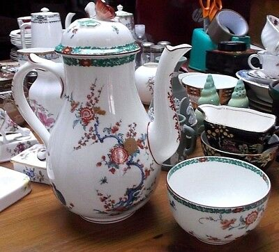 Royal Worcester Old Bow Repro Coffee Pot and Sugar Bowl