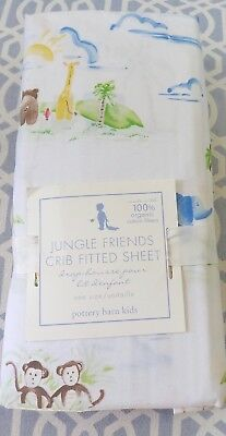 Nwt Pottery Barn Kids Fitted Crib Sheet - Jungle Friends