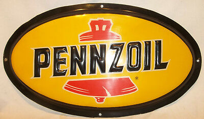 "Pennzoil 31"" x 18"" Oval Heavy Plastic Sign Man Cave Oil & Gas VERY NICE USED"