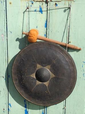 Antique Chinese Bronze Gong Superb Note Nice Patina H/Painted 1900's Chic Xmas