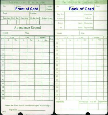 100 Monthly Time Cards for Compumatic, Icon, Pyramid, uPunch & More... (HNTC-G)