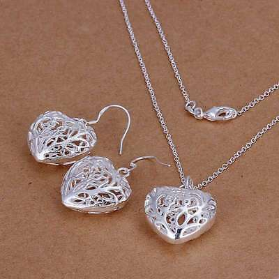925Sterling Solid Silver Hollow Out Heart Earrings Necklace Jewelry Sets S108
