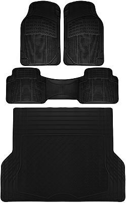 4pc All Weather Heavy Duty Rubber Universal Floor Mat Black 2 Row w/Trunk Liner