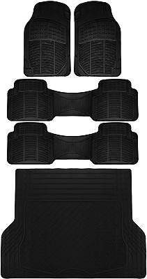 5pc All Weather Heavy Duty Rubber Universal Floor Mat Black 3 Row & Trunk Liner