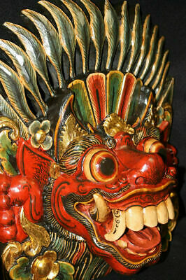 Balinese Boma Barong Mask Demon Polychrome Carved wood Bali wall art Indonesia
