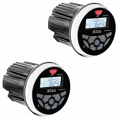 """Boss Audio MGR350B 3"""" Gauge Hole Marine Bluetooth Stereo Boat Receiver (2 Pack)"""