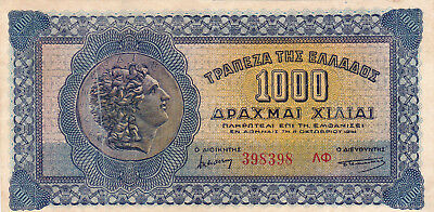 1000 Drachmai Very Fine+ Banknote From German Occupied Greece 1941 !pick-117