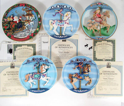 LOT 5 BRADFORD EXCHANGE MUSICAL COLLECTOR PLATES Carousel Treasures, Daydreams +
