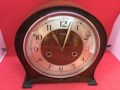VINTAGE WOODEN SMITHS MANTLE CLOCK with SMITHS BRASS MOVEMENT #2