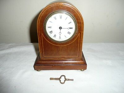 Small Antique Mantle Clock in Inlaid Case With Key, Sold For Restoration.