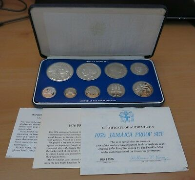 1976 Jamaica 9-coin Proof Set with OG Box & COA ~ Includes TWO Silver Coins