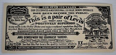 Vintage Levi's Jeans Paper / Cardboard Pants Tag - For Over 110 Years