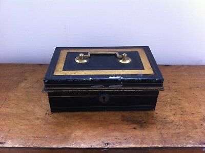 ANTIQUE PAINTED TINWARE CASH BOX 8 by 5  inches