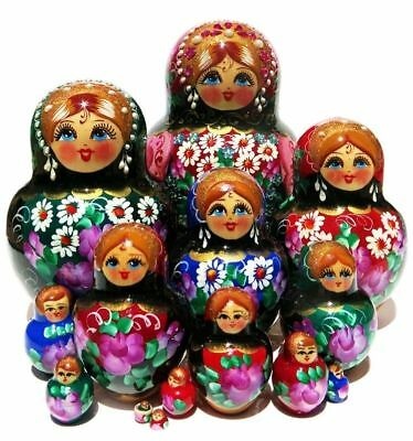 Rainbow Jewels 15 PC Hand Painted Color Russian Nesting Doll Stacking Babushka