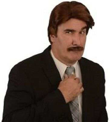 70's wig and mustache Halloween costume news anchor reporter