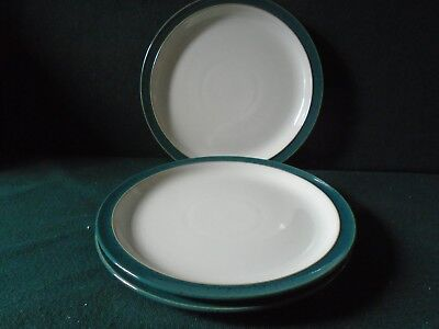"Three Denby Harlequin 8 1/2"" (22cms) side plates White with green sides ( unused"