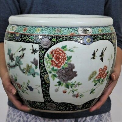 Large 19/20 C Qing Chinese Famille Verte Porcelain Hand Painted Jardiniere Bowl