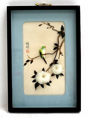 Decorative CHINESE 'Small Vibrant Bird' COLLAGE ARTWORK / Framed - H09