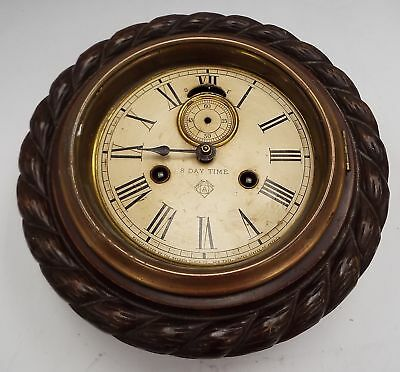 Vintage ANSONIA Circular Wooden Wall Clock SPARES/REPAIRS - W20