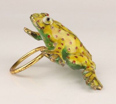 Old Cloisonne Hand-Carved Frog Statue Napkin Rings Rare Collection
