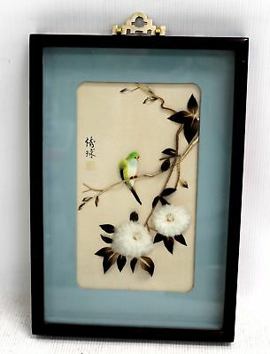 Decorative CHINESE 'Bird On Blossoming Branch' COLLAGE ARTWORK / Framed - H09
